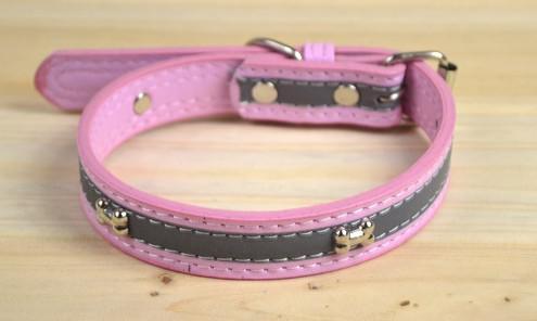Ajustable de piel reflexivo de la seguridad de la PU collar de perro Collar de moda de colores mezclados