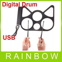 Wholesale 12pcs RA Electronic USB Roll Up Drum Kit Digital Pc Pad Desktop Drumstick pads stick Free Ship