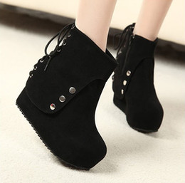 Wholesale Black Ankle Wedges - New Stylish Women Wedges Shoes Winter Boots Platform Shoes Short Boots,Free Shipping ! black,35-39