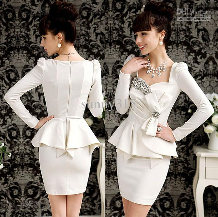 Elegant 2015 Dress Women Ladies Bling Long Sleeve Formal Dresses