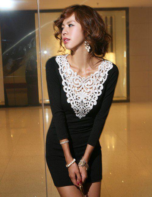 2018 Hot Sales Crochet Lace Collar Long T Shirt Style Slim Sexy Mini