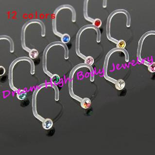 Flexible Nose Ring Stud Screw Clear UV Acrylic 12colors Gem Stone RETAINERS HIDE Crystal Body Pierci