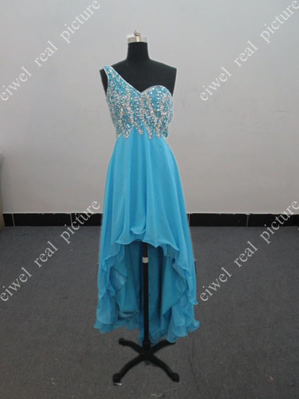 High Front Low Back Prom Dresses A Line One Shoulder Beaded Layered Ladies Pagent Gowns Actual Image