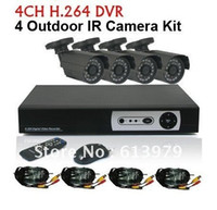 Wholesale Dvr 6mm - CCTV Security 4CH H.264 Standalone Network DVR CMOS 6mm lens Outdoor IR Camera VIdeo System Kit