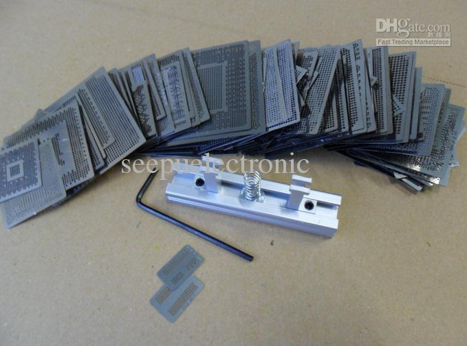 2014 nieuwste 505 stks bga-warmte direct reballing stencil sjabloon fabriek verkoop + houder mal