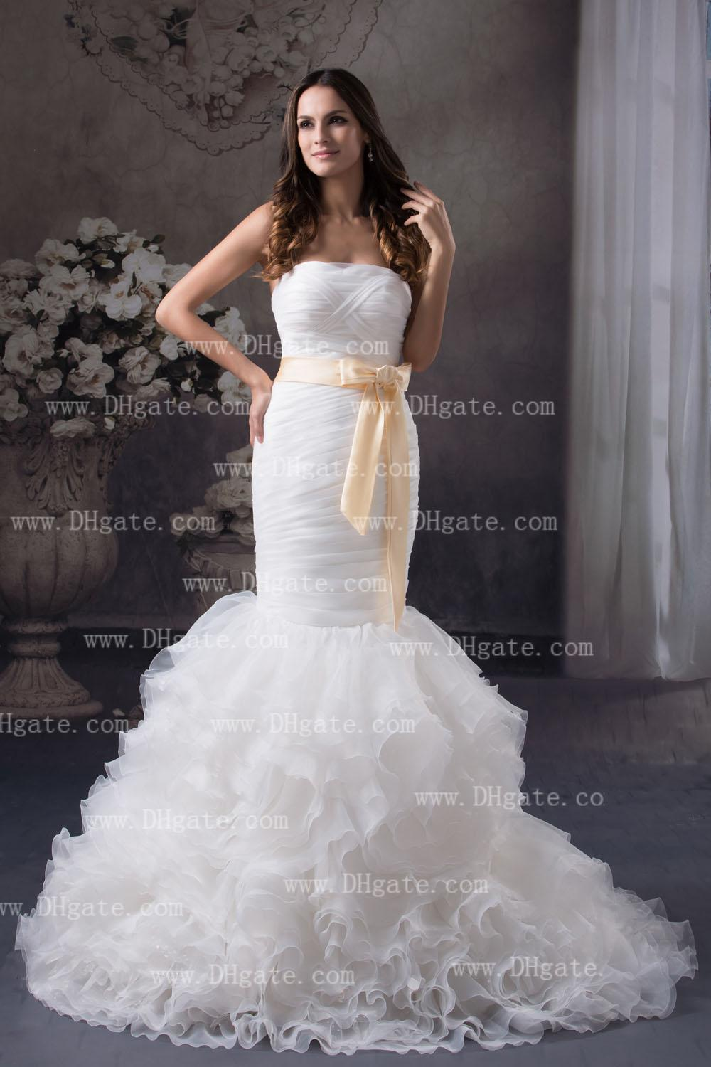 White Mermaid Wedding Dress Strapless Pleated Ruching Bodice With
