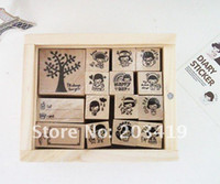 Wholesale Stamper Set Cartoon - free shipping Wooden cartoon tree stamper vintage Antique Stamp seal ink 15PC set diary carved decro