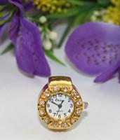 Wholesale Spike Watches - 5pcs Rhinestone golden spike round finger ring watch #22366