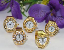 Wholesale Rhinestone Elastic Ring - 5pcs mixed styles of rhinestone golden elastic finger ring watches #22368