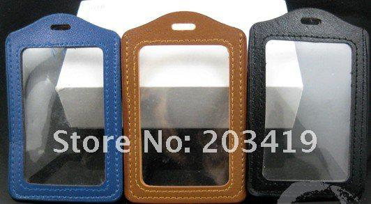 free shipping multi Vertical 3 color PU leather ID Badge Holders PVC clear name card credit case