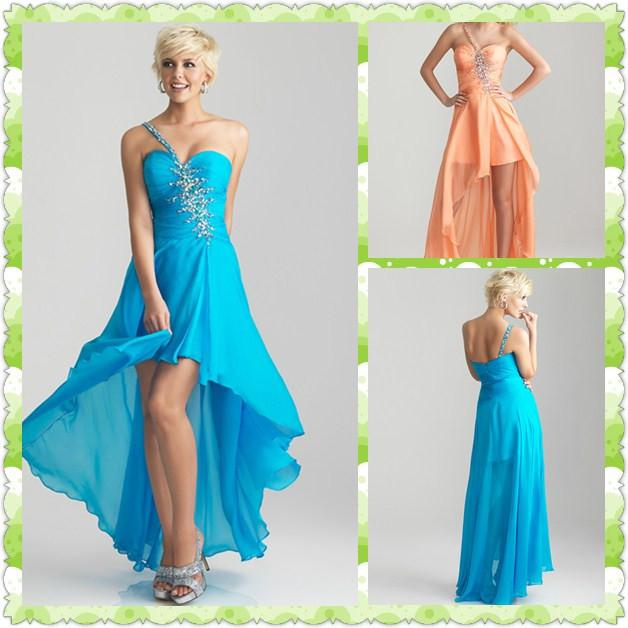 2016 Fascinating One Strap Prom Dress Crystal Beaded Chiffon High ...