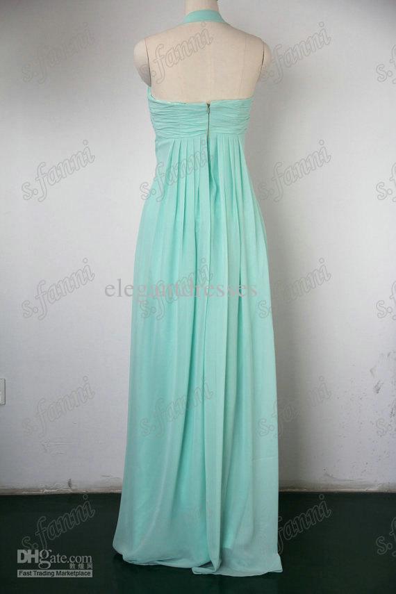 Halter A-line de haute qualité à volants en mousseline de soie couleur sauge magnifiques robes de demoiselle d'honneur BDS019