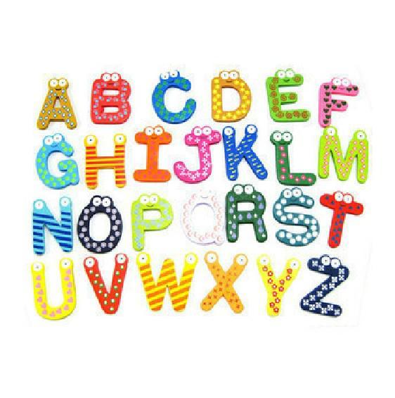 top popular 26 letters fridge magnet Toy Educational Pre-shool letters wooden toys magnetic stickers 26pcs set 2021
