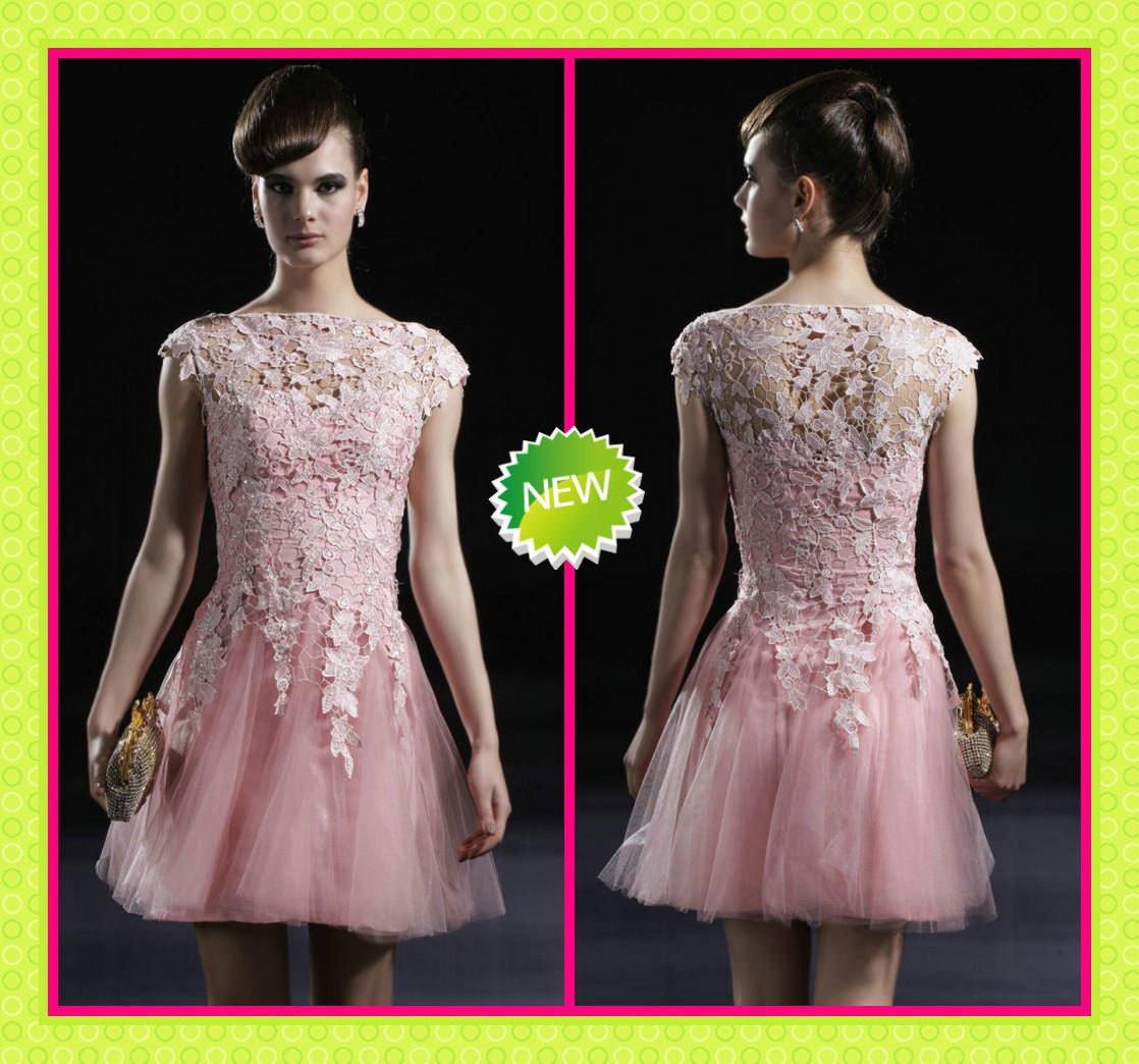 2013 Elegant Pink Lace And Tulle Sheer Bateau Neck Cap Sleeves ...