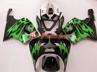 zx7r 1997 grün großhandel-Grüne Flamme in schwarzem ABS Plastik Verkleidung Kit für Kawasaki Ninja ZX7R 1996 - 2003ZX 7R ZZR 750 96 97