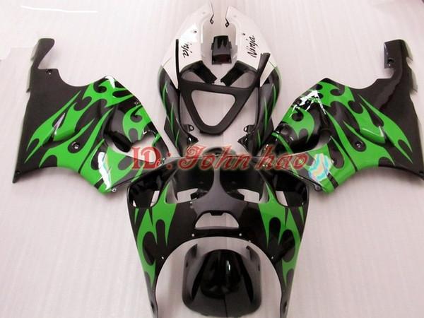 Green Flame in Black ABS Plastic Fairing kit for Kawasaki Ninja ZX7R 1996 - 2003ZX 7R ZZR 750 96 97