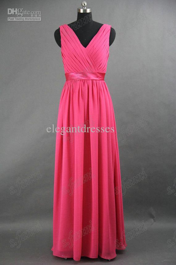 - 라인 놀라운 V - 목 층 길이 Fuschia 벨트 쉬폰 신부 들러리 드레스 BDS025