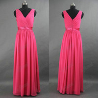 Wholesale fuschia black dress - A-line Amazing V-neck Floor Length Fuschia Belt Chiffon Bridesmaid Dresses BDS025