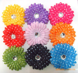 Wholesale Black Gerbera - Children's Hair Accessories 4inch polka dot gerbera daisy flower Hair Clips 120 pcs lot