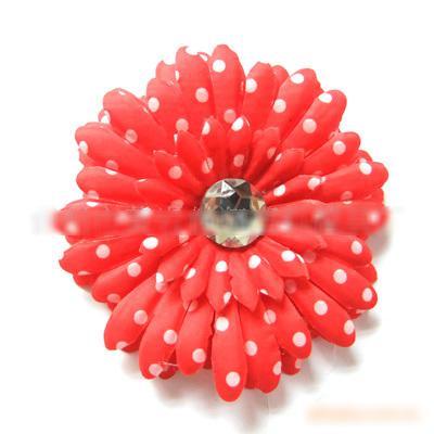 Barnhår Tillbehör 4inch Polka Dot Gerbera Daisy Flower Hair Clips 120 st