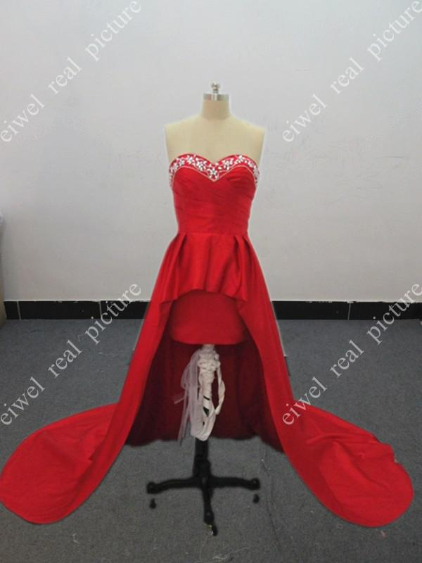 Short Front Long Back Prom Dresses Sweetheart Beaded Red Dresses Sweetheart Evening Gwns
