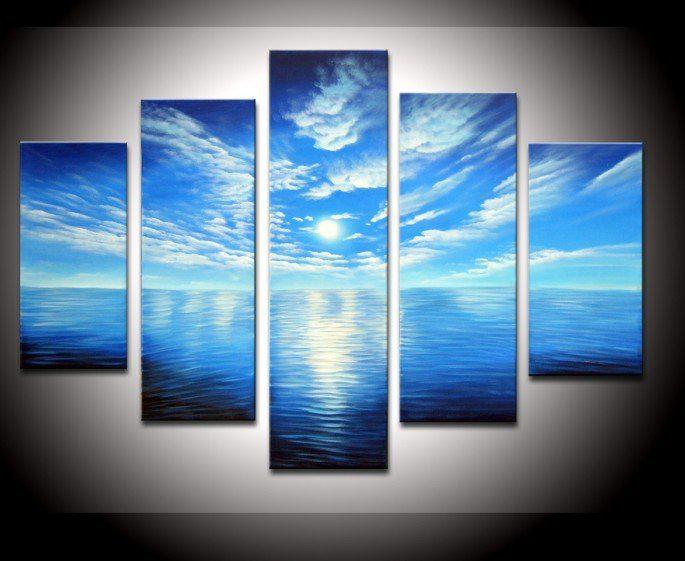 Blue Canvas Wall Art modern abstract wall art oil paintings on canvas blue sky and sea
