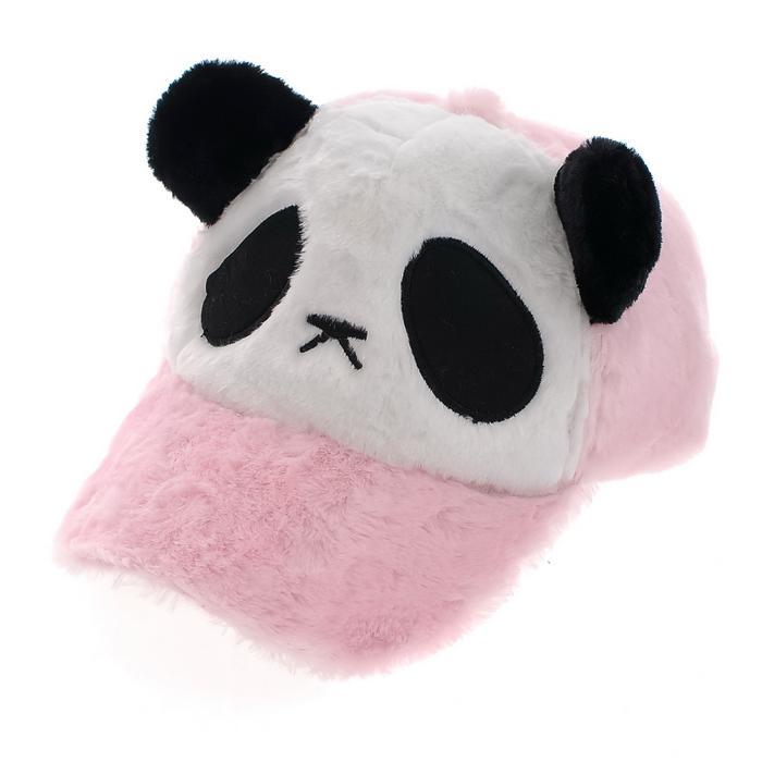 panda baseball cap philippines giants hat pink cartoon plush winter kung fu