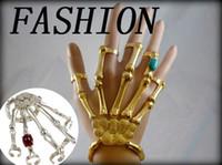 Wholesale Skeleton Hand Bones Bracelet - PUNK GOTH SKELETON SKULL SLAVE BONES TALON HAND BRACELET GAGA STYLE