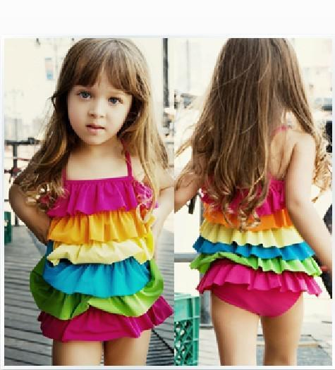top popular Children Swimwear, 2016 Summer girls bathing suits cute rainbow flouncing cake skirt Siamese-style swimsuit, 5pcs lot, dandys 2020