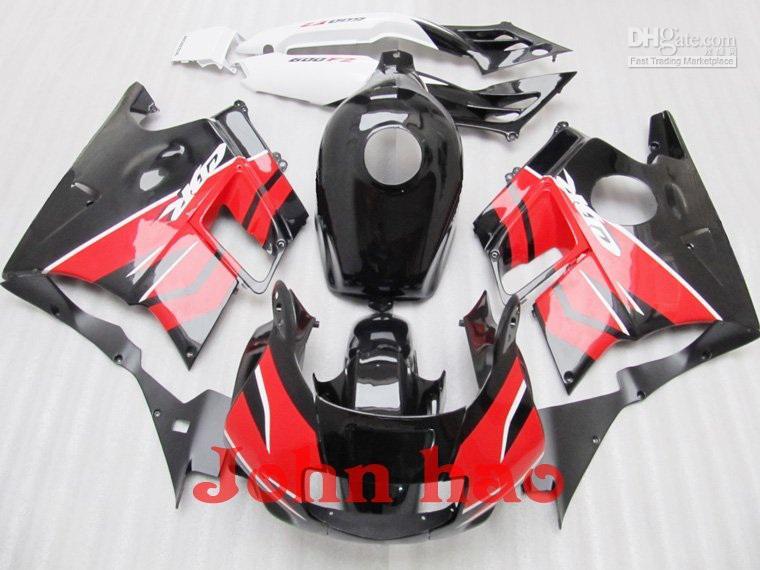 Svart röd för Honda CBR600 F2 91-94 CBR600 F2 600 F2 91 92 93 94 1991 1992 1993 1994 Fairings