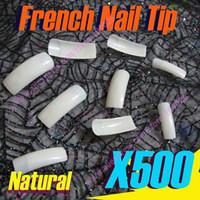 Wholesale Half Natural Nail Tips - Free Shipping 500 pcs Half Cover natural french false nail art tips half cover acrylic nails Tips