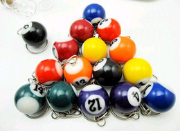 Wholesale Mini Snooker - wholesale free shipping mini ball Pool Billiards snooker table ball keychain the same material as th