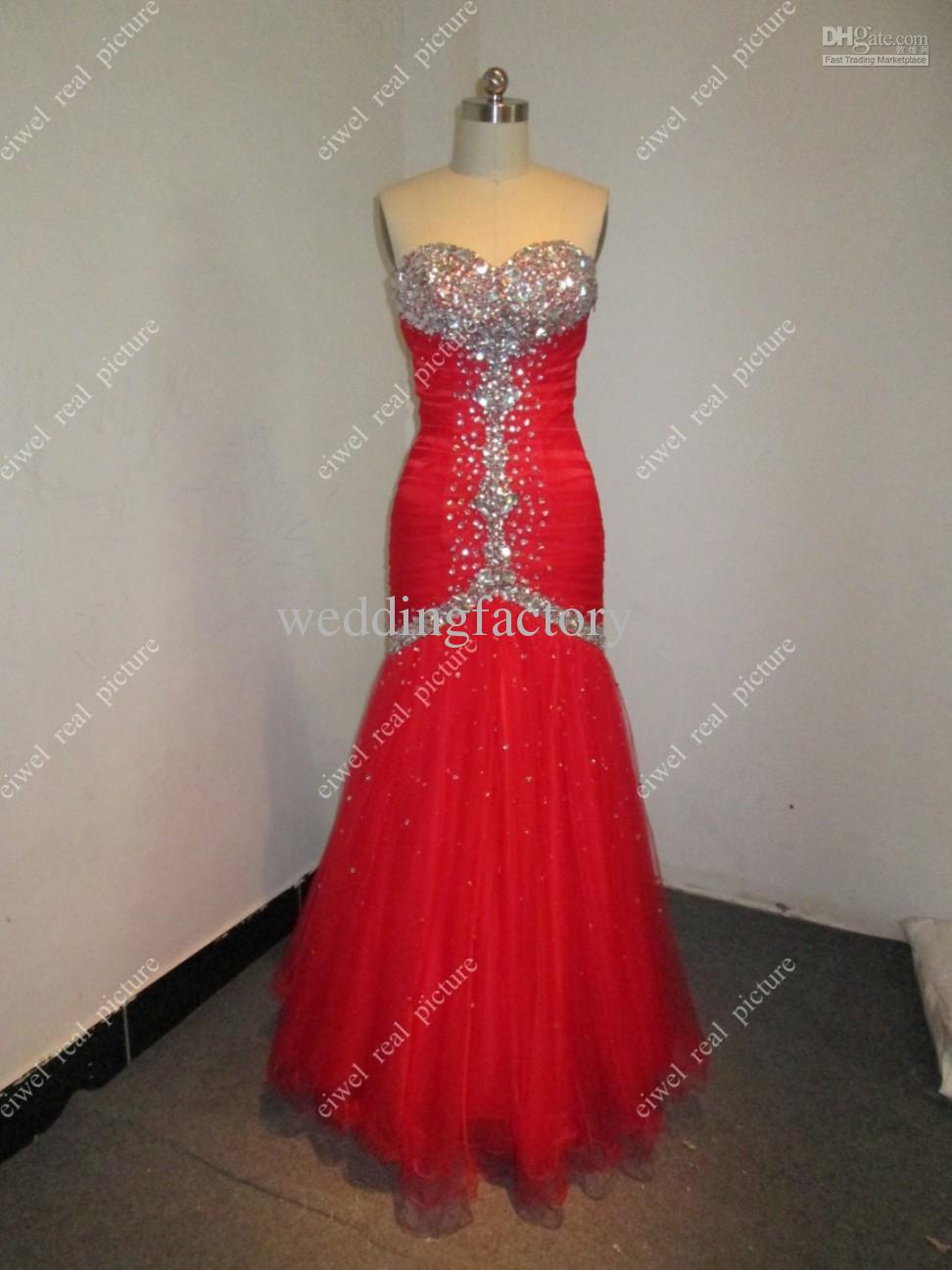 Ankle Length Mermaid Prom Dresses Beaded Sweetheart Red Lace-up Back Ladies Formal Occasion Gowns