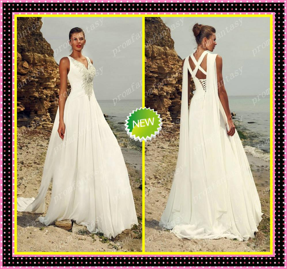 2016 Flowy Train Beaded Greek Chic V Neck Sexy Goddess Column Chiffon White Beach Wedding Dresses Informal Bridal Gowns Vestidos De Novia Halter Style