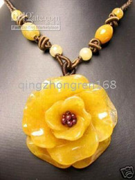 Wholesale Jade Carved Flower Pendant - New Fine jade Jewelry pretty yellow jade pendant necklace carved rose flower