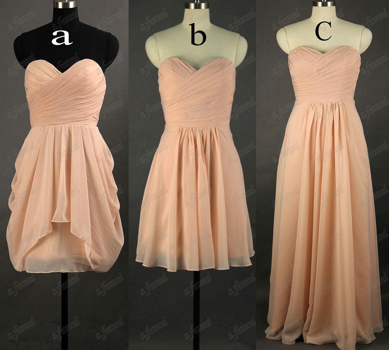Rabatt Högkvalitativ Stropless Knee Length Chiffon Bow Coral Bridesmaid Dress