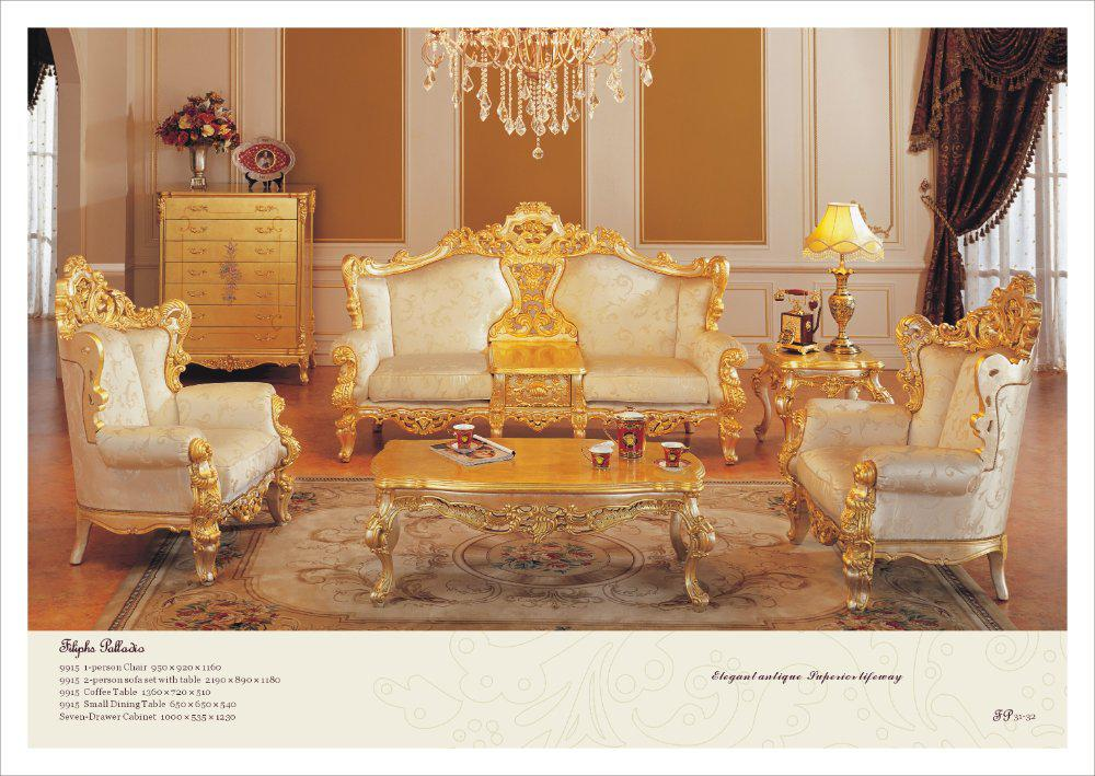 Classic Furniture Sofa Set All Golden Solid Wood Living