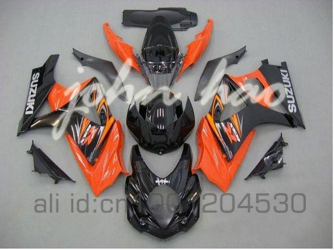 オレンジ/ブラックJ9フェアリング鈴木GSXR1000 07 08 GSX-R1000 2007 2008 GSXR 1000 K7 07 08ボディキット
