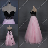Wholesale Evening Eyes - Black and Pink Prom Dresses Floor Length Beaded A Line Sweetheart Eye-catching Ladies Evening Gowns