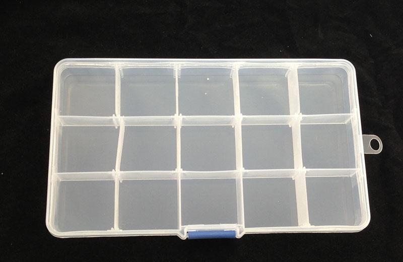 Boîte de rangement transparente à 15 compartiments avec boîte de rangement pour présentoir à perles # 22565