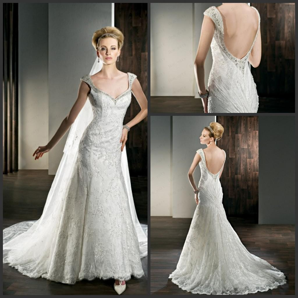 Simple Long A Line Cap Sleeve Train Lace Wedding Dresses: Discount A Line Wedding Dresses Lace Cap Sleeves Raindrop