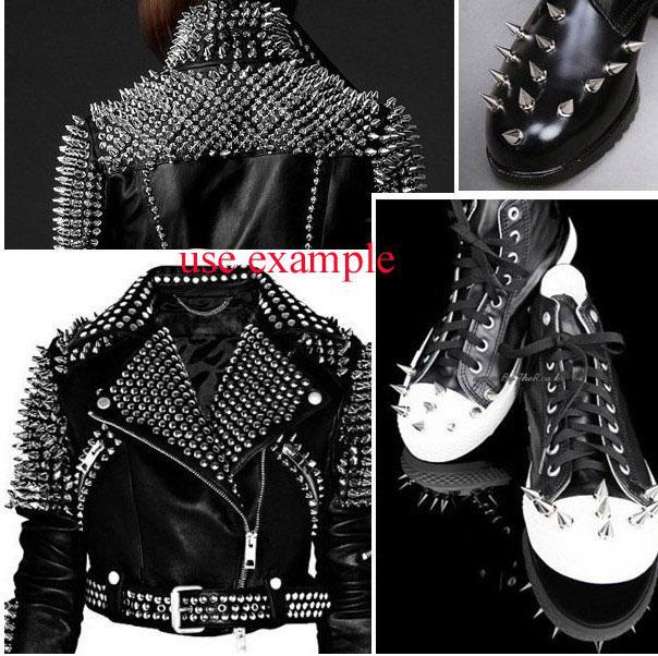 silver Metal Spike Stud Punk Bag Belt Clothes Leathercraft Cone Rivet 29x10mm #22557