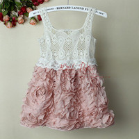 Wholesale Girls Cotton Party Dresse - 2016 Fashion Baby Girl Dresses Rose Children Pink Lace Flower Dress Princess Kids Desses party dresse