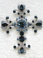 kostüm takıları toptan satış-12 adet / grup Toptan Montana Markiz Kristal Rhinestone Çapraz Moda Kostüm Pin Broş Kolye Takı hediye C248