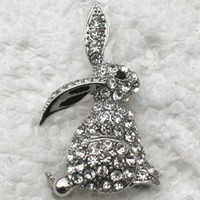 Wholesale Bunny Brooch Pin - Wholesale C184 A Clear Crystal Rhinestone Easter Bunny Pin Brooch Fashion costume jewelry gift