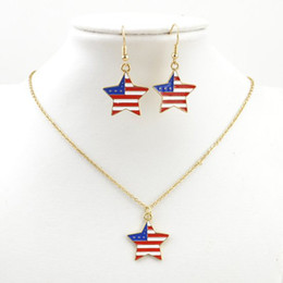 Wholesale Eastern Star Necklace - Free shipping fashion jewelry women ladies costume USA flag star necklace earring jewelry set S480 party gift