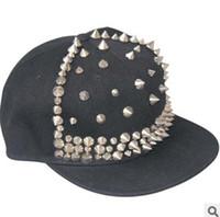 Wholesale black rivet summer hat online - Adjustable Snapback Black Hats Caps With Rivet Men Women Spike Studs Rivet Cap Hat Punk Rock Hip hop