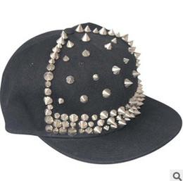 Wholesale Rivet Hats - Adjustable Snapback Black Hats Caps With Rivet Men Women Spike Studs Rivet Cap Hat Punk Rock Hip hop