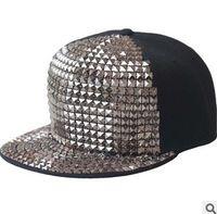 Wholesale Punk Rock Hip Hop Cap - New Design Adjustable Snapback Hats Caps With Rivet Baseball Cap Hat Punk Rock Hip hop snapback hats caps cap hat 11colours