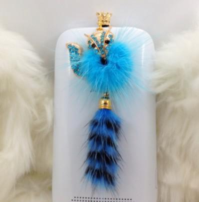 2013 Mink Crystal fox pingente de telefone à prova de poeira plug fone de ouvido plugue da poeira 10 pçs / lote